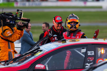 freightliner: MELBOURNE, WINTONAUSTRALIA, 22 MAY , 2016: Virgin Australia Supercars Championship  -  Race 10 winner, Tim Slade (Freightliner Racing) elated after hs first win in 8 years. Editorial