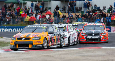 aussie: MELBOURNE, WINTONAUSTRALIA, 20 MAY , 2016: Aussie Race cars battle it out at the Virgin Australia Supercars Championship at Winton. Editorial