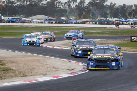 cars race: MELBOURNE, WINTONAUSTRALIA, 20 MAY , 2016: Aussie Race cars battle it out at the Virgin Australia Supercars Championship at Winton. Editorial