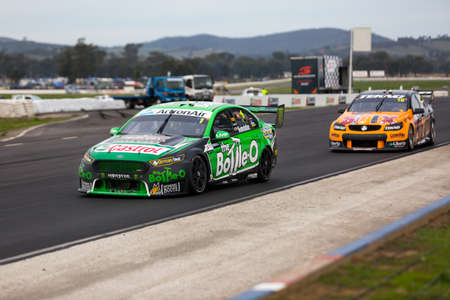 MELBOURNE, WINTON/AUSTRALIA, 22 MAY , 2016: Virgin Australia Supercars Championship  - Mark Winterbottom (The Bottle-O Racing Team) during Race 10 at Winton. Editorial