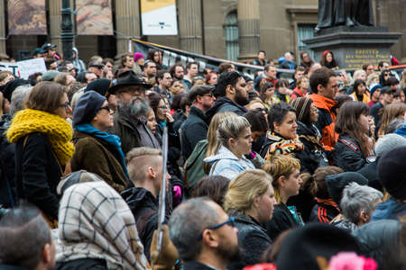 MELBOURNE/AUSTRALIA - 30 JULY , 2016: Protesters rally against the torture and detention of indigious childtren in the Northern Territory. The rally was held outside the State Library.