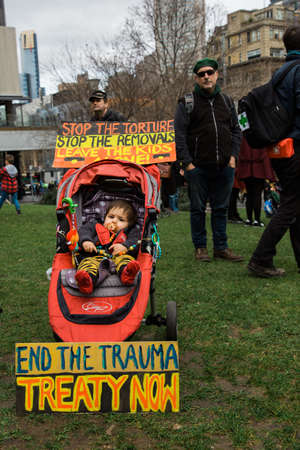 MELBOURNEAUSTRALIA - 30 JULY , 2016: Protesters rally against the torture and detention of indigious childtren in the Northern Territory. The rally was held outside the State Library.
