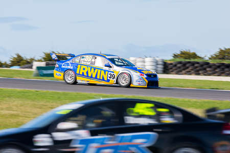 MELBOURNE/AUSTRALIA - SEPTEMBER 10, 2016: Chris Smerdon behind the wheel of the Vectra Corp/Lubrimaxx Falcon for Race 2 at Round 6 of the Shannon's Nationals at Phillip Island GP Track in Victoria, Australia 9-11 September. Editorial