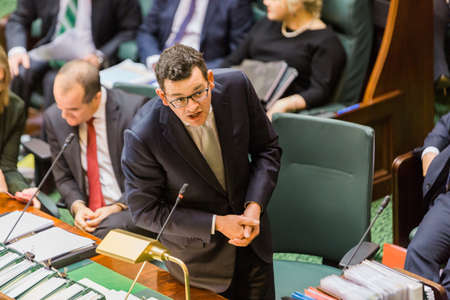 MELBOURNE/AUSTRALIA - AUGUST 16, 2016: Premier Danial Andrews defends his Governments actions against the CFA. Editorial