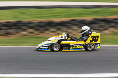 MELBOURNE/AUSTRALIA - SEPTEMBER 10, 2016: Jason Smith behind the wheel of the Middletons Printing/TJP Motorsport SuperKart for qualifying at Round 6 of the Shannon's Nationals at Phillip Island GP Track in Victoria, Australia 9-11 September.