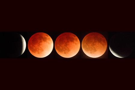 Full lunar eclipse composite April, 2014, Oregon, Ashland, Cascade-Siskiyou National Monument , Taken 05.14 Reklamní fotografie