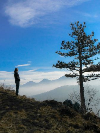 quietness: A girl in the top of the mountain watching the horizon. Picture was made on Tampa-Brasov, into a beautiful morning