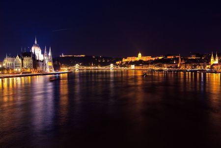 A landscape of Budapest's Parliament, Castle, Chain bridge, in the night Stock Photo - 5648821