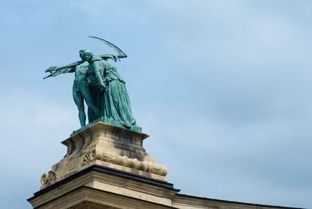 Statues and Architecture at Heros Square-Budapest photo