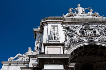 augusta: Arco de triunfo de la calle Augusta en Lisboa