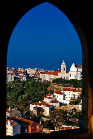 View of the Alfama district from The Castle of Saint George Stock Photo