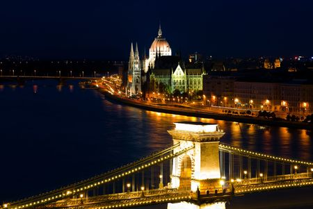 A landscape of Budapest in the night  Stock Photo