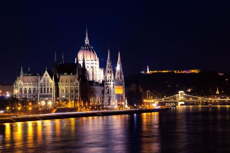 A night view of Budapest's Parliament Stock Photo - 6961449