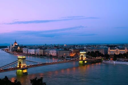 chain bridge: Evening landscape of Budapest, at the sunset time