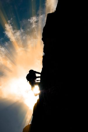 ambitions: Silhouette of a man during an ascension in Retezat mountains.