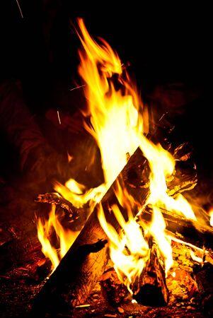 열정: A campfire in the night, next to a basecamp