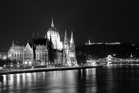 A night view of Budapests Parliament photo