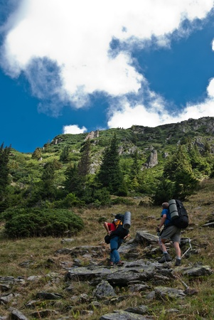 fagaras: Hikers in Fagaras mountain, in ascension, to the ridge.