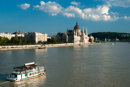 A landscape of Parliament over the Danube in Budapest. Stock Photo