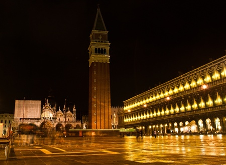 campanille: Night view in San Marco, with Cathedral and Campanille