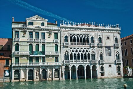The Ca dOro building facade, seen from the Grand Canal, Venice, Italy