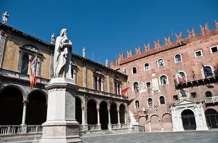 Piazza dei Signori, also known as Piazza Dante in Verona. There are various palaces around the square and a statue of Dante Alighieri photo