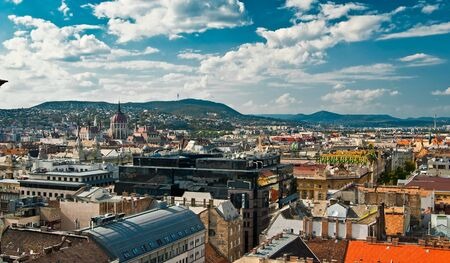 A panorama over Budapest city, capital of Hungary Stock Photo