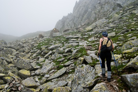 ultimate: Hiker girl in Retezat mountain,  above Bucura lake