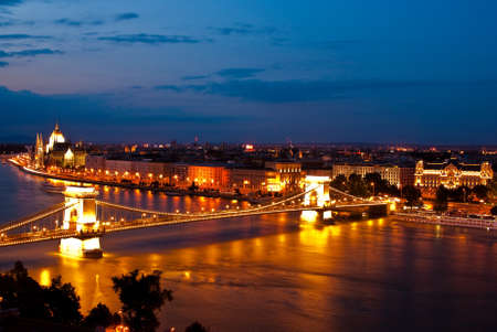 Evening landscape of Budapest, at the sunset time,Hungary photo