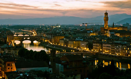 Night view over Florence, in Italy