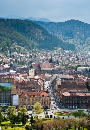 Brasov is a city in Romania and the capital of Brasov County, is the 8th largest Romanian city. Brasov is located in the central part of the country. It is surrounded by the Southern Carpathians, and is part of the Transylvania region. Reklamní fotografie - 9684588
