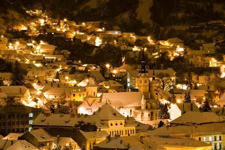 Winter night view over old town of Brasov
