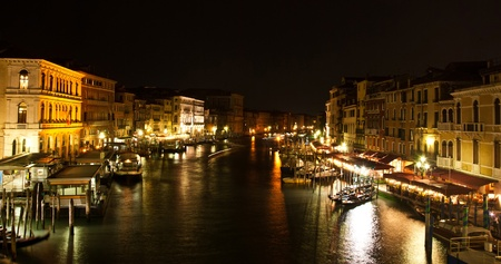 View over Grand canal from Rialto bridge in Venice, Italy photo