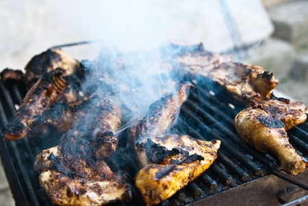 skillfully: Delicious grilled chicken is a versatile summertime favorite. It can be simply seasoned lightly and grilled, grilled with a sauce for spicy barbecued chicken, or skillfully seasoned and marinated according to a gourmet recipe. Stock Photo