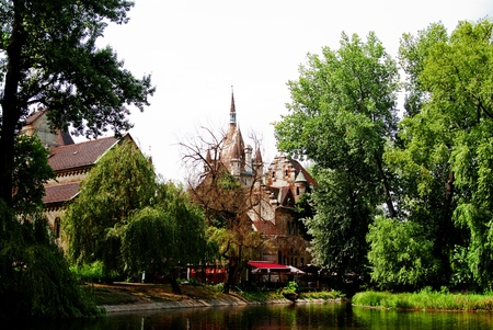 A view of Vadjahunyad castle from the lake in Budapest - Hungary