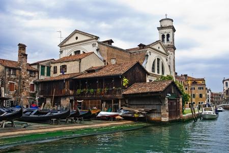 Campo San Trovaso, with Gondola shipyard in Venice, Italy