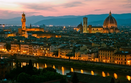 Florence, Italy - skyline with Duomo, Palazzo vecchio and Arno river Reklamní fotografie
