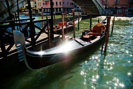 Gondolas anchored on Grand Canal in Venice   Stock Photo - 9862982