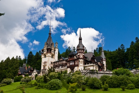 Peles Castle is a Neo-Renaissance castle placed in an idyllic setting in the Carpathian Mountains, in Sinaia, Prahova County, Romania; built between 1873 and 1914 its inauguration was held in 1883. Reklamní fotografie - 9863772