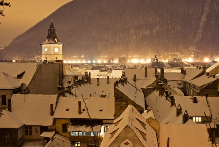 brasov: Aeral view of Brasov center in a winter night, Romania Stock Photo
