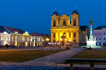 Unirii Square in Timisoara, Romania at twilight Stock Photo