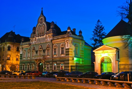 Architectural detail of Unirii Square in Timisoara, Romania at twilight