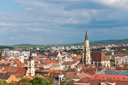 Aeral view with St. Michaels Church-tower, the largest Gothic-style church in Cluj, Romania