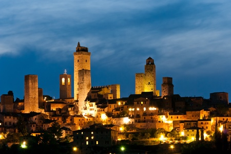 San Gimignano is a small walled medieval hill town in the province of Siena, Tuscany, north-central Italy Stock Photo