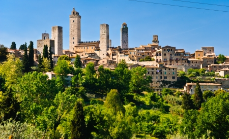 San Gimignano is a small walled medieval hill town in the province of Siena, Tuscany, north-central Italy Reklamní fotografie - 10452593