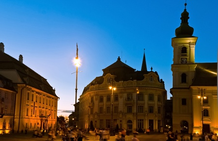 Sibiu town square at blue hour photo