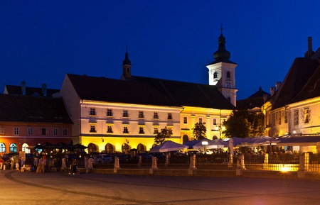 Small square  in sibiu, romania, at blue hour Stock Photo - 10646373