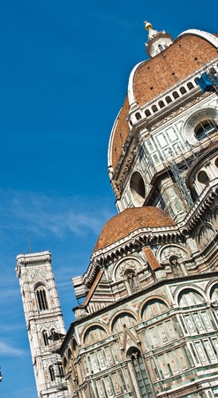 Cathedral of Florence and Campanile tower, in gothic style, Tuscany, Italy. Stock Photo