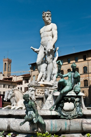 Statue of Neptun in Florence, Italy Stock Photo