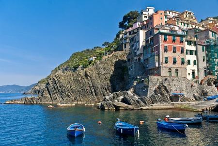 cinque: The Italian seaside village of Riomaggiore in the Cinque Terre